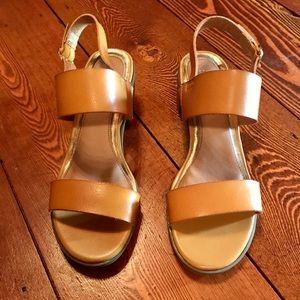 Rampage Womens Cognac Color Sandals Block Heels